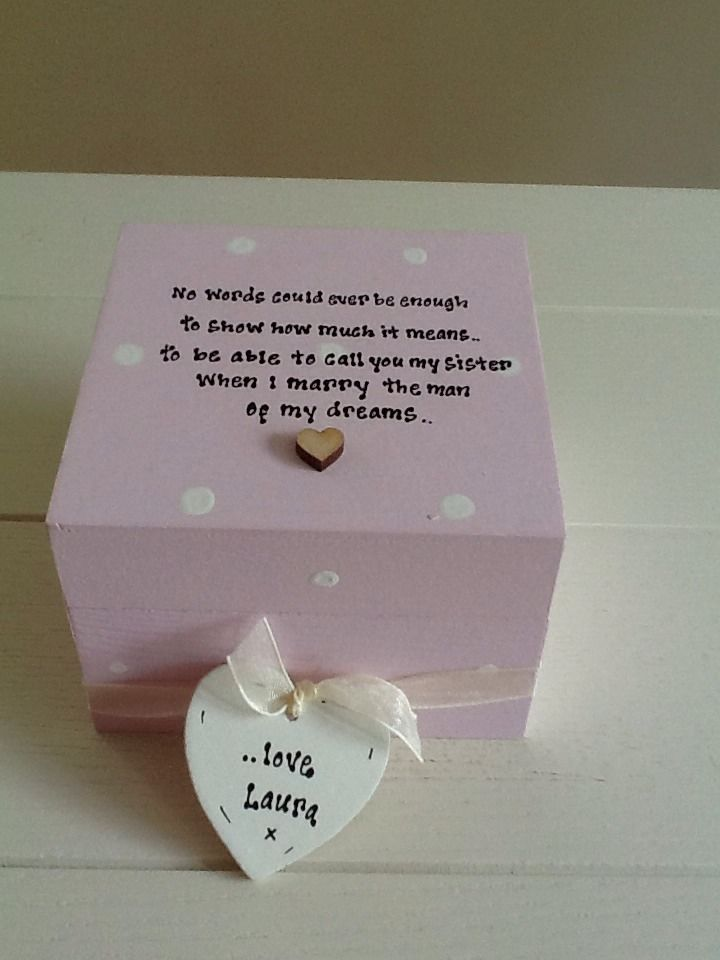Shabby Personalised Chic Gift For Sister In Law From Bride Wedding